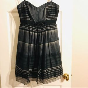 BCBG Holiday dress black white silk XXS NWOT